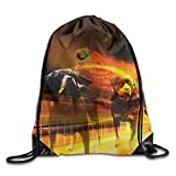 Unisex Drawstring Bags Creative Artistic Rottweiler Dog Portable Backpack Sport Daypack