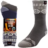 2 Pairs of Mens Thick Heat Trapping Insulated Heated Boot Thermal Socks Pack Warm Winter Crew For Cold Weather