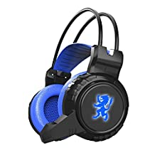 MiiU (TM) Blue Comfortable LED 3.5mm Stereo LED Lighting Over-Ear Gaming Headphone Headset Headband with Mic for PC Computer Game With Volume Control