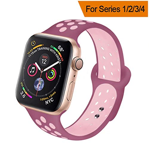 HILIMNY Compatible for Apple Watch Band 42MM/44MM, Soft Silicone Sports Replacement Compatible for iWatch Band Apple Watch Series 4/3 / 2/1, S/M, Violet Plum Fog