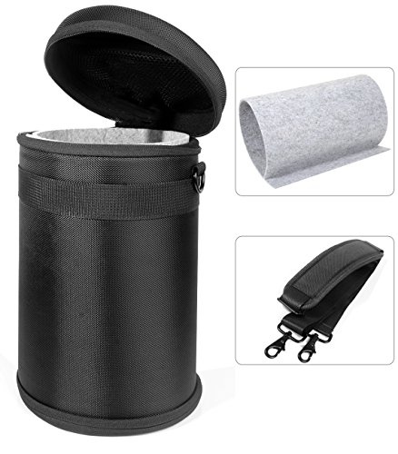 (WGear Semi-Hard Lense Case for DSLR Camera Lens (Canon, Nikon, Sony, Pentax, Olympus, Panasonic,etc), Medium Size with Carabiner, lens cleaning wipe (Black Medium) (Black XXL))