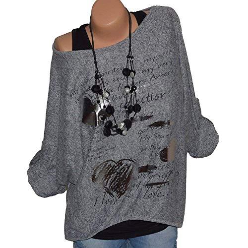 Stampato Lunghe Taglie Primaverile O Autunno Top Relaxed Donna Shirts Forti Maniche Collo Casual Grau Tunica Leggero Magliette Mujeres Classiche Eleganti A8qwX