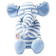 Manhattan Toy Baby Activity Plush Toy with Ring Rattle, Blue Elephant, 10