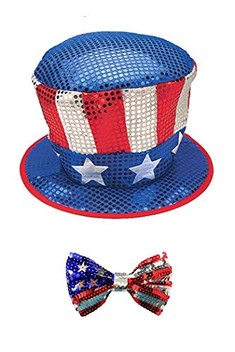 Sequin Uncle Sam Costumes (Uncle Sam Red White Blue Hat Sequin Patriotic Top Hat and Bow Tie Costume Set)