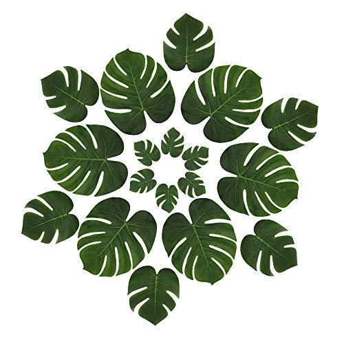 LJDJ Tropical Leaves Palm - Set of 48 - Artificial Silk Fabric Monstera Decoration Leaf 3 Different Sizes Small Medium Large - Hawaiian Luau Safari Jungle Beach Flamingo Bachelorette Party Table Decor