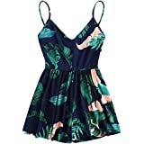 SweatyRocks Women's Floral Printed Sexy V Neck Spaghetti Strap Beach Shorts Romper Jumpsuit Navy L