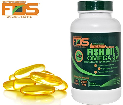 - Pure Omega 3 Fish Oil Concentrate-Enteric Coated Burpless-Premium Omega 3 w/ Vitamin E-2000MG 120Softgels-Perfect EPA DHA-Supports Heart Health,Brain Development,Healthy Joints & Overall Wellness
