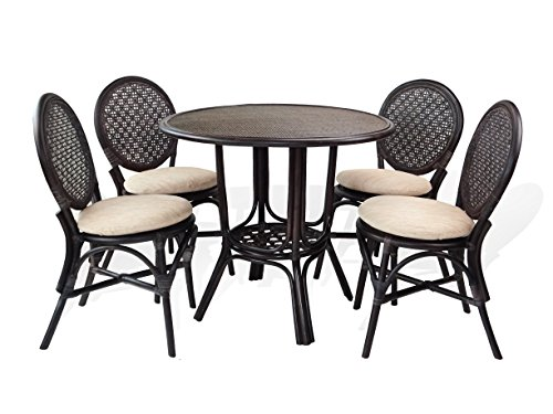 5 Pc Denver Rattan Wicker Dining Set Round Table w/Wicker Top+4 Side Chairs.Dark Brown Color