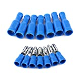 50 Pcs Male and Female Isolated Bullet Connector Brass Crimp Automobile Terminals Blue