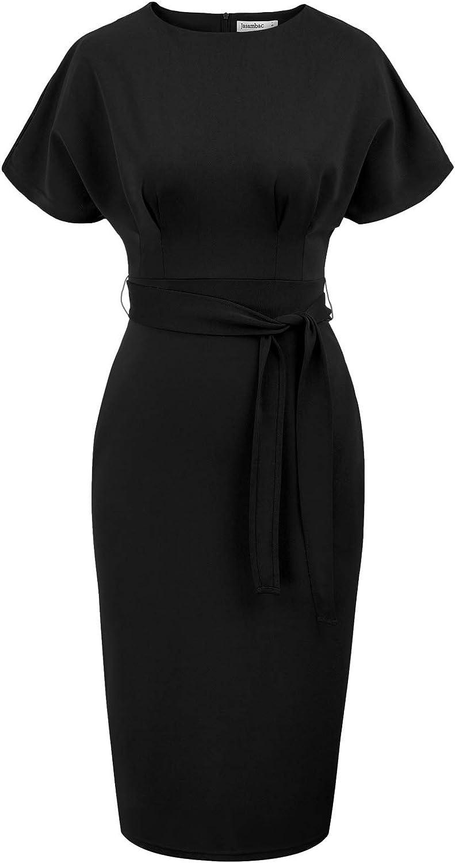 JASAMBAC Women's Bodycon Pencil Dress Office Wear to Work Dresses with Pocket Belt
