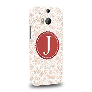 Case88 Premium Designs Art Collections Hand Drawing Alphabet J Argyle Chevron Stripe Dotted Carcasa/Funda dura para el HTC One M8