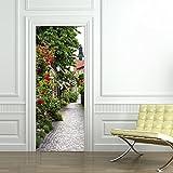 wallpaper door murals - CaseFan 3d Door Wallpaper Murals Wall Stickers--Rose Town Self-adhesive Vinyl Removable Art Door Decals 30.3x78.7