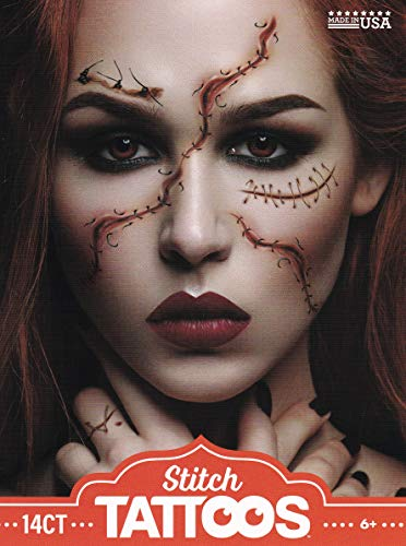 Halloween Realistic Temporary Costume Make Up Face Tattoo Kit Men or Women - (Realistic Stitches) 1 Kit -