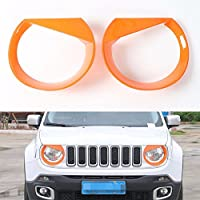 FMtoppeak Orange Head Lights Trim Lamp Cover Headlights Chromium Styling ABS Ring Bezel Decoration For Jeep Renegade 2014 UP