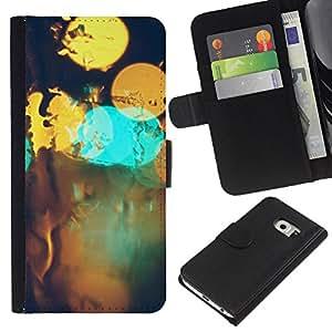 LECELL--Cuero de la tarjeta la carpeta del tirón Smartphone Slots Protección Holder For Samsung Galaxy S6 EDGE -- Resumen Bokeh --