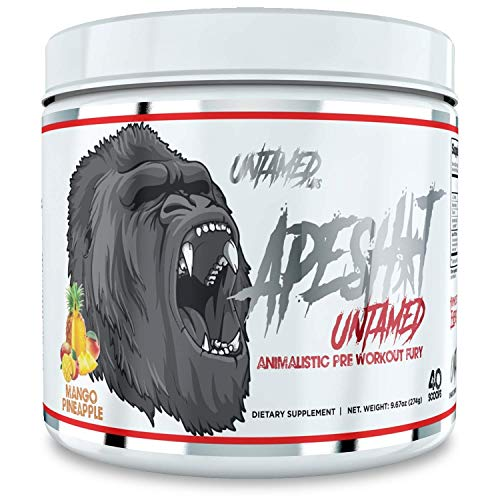 Untamed Labs Ape Sh*t, Pre-Workout Supplement, Immediate and Sustained Energy, Increased Performance and Endurance, Elevated Nitric Oxide Production, Mango Pineapple, 40 Scoops