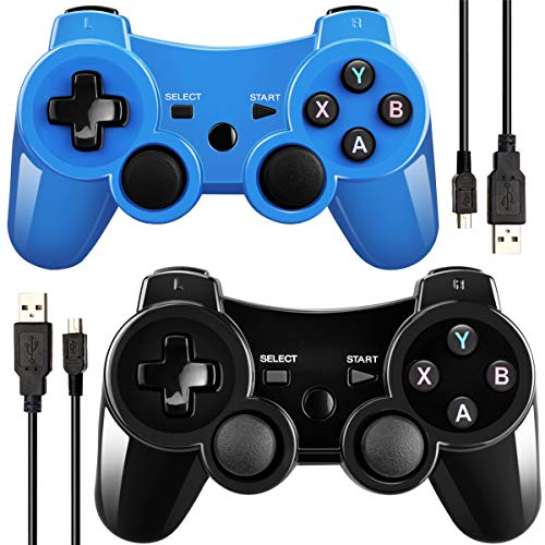 Double Vibrating Wireless Controller for PS3 With Charge Cable (Blue+Black)