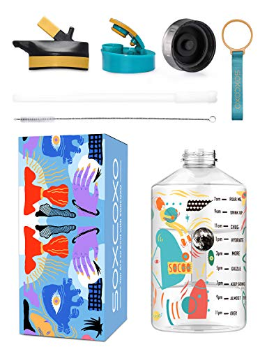 1 Gallon Water Bottle with Straw,BPA Free Large Gallon Water Jug with Time Marker,128 OZ Hydro Jug for Sport Gym Fitness Outdoor Workout Painting