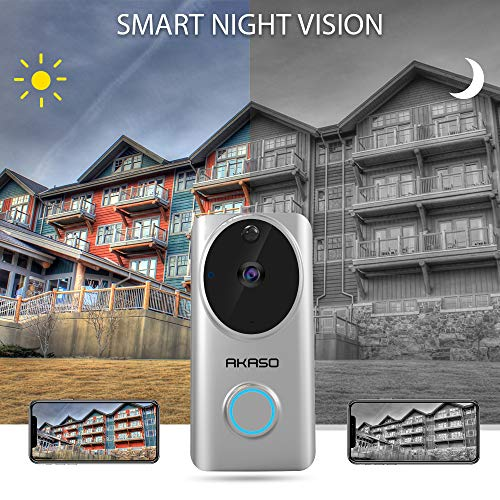 Video Doorbell Wireless WiFi,AKASO Smart Doorbell Camera with Motion Detector,720p Security Camera w/166° Viewing Angle Works with Alexa,Two-Way Audio & Cloud Storage,Night Vision for iOS Android by AKASO (Image #7)