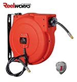 ReelWorks L705102A Plastic Retractable Air Compressor/Water Hose Reel with 1/4'' x 33' Hybrid Polymer Hose, Max. 300 psi