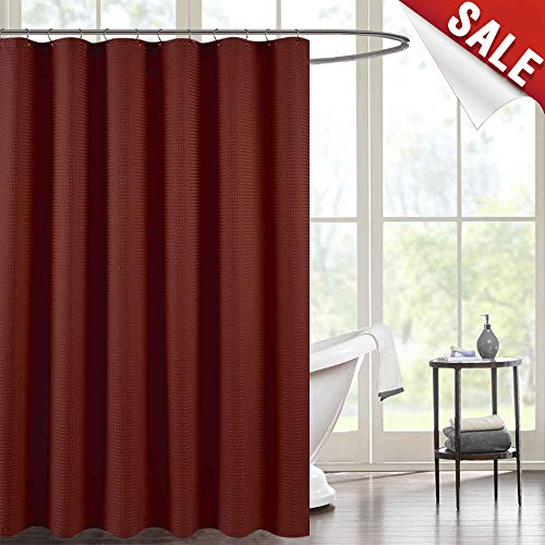 - Waffle Weave Fabric Shower Curtain for Bathroom Burgundy 72 inch Long Water Repellent Shower Curtain in Bath