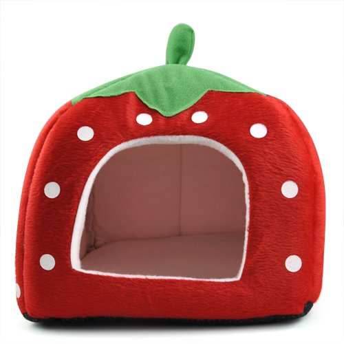 Red L red L Beyondfashion Cute Cashmere Foldable Soft Strawberry Pet Dog Cat Bed Tent House L (red)