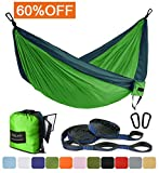 Outdoor Camping Hammock - Portable Anti-fade Nylon Single & Double Hammock with 2 Piece 14 or 16 Loop Straps by FARLAND - Parachute Lightweight Hammock for Hiking Backpacking
