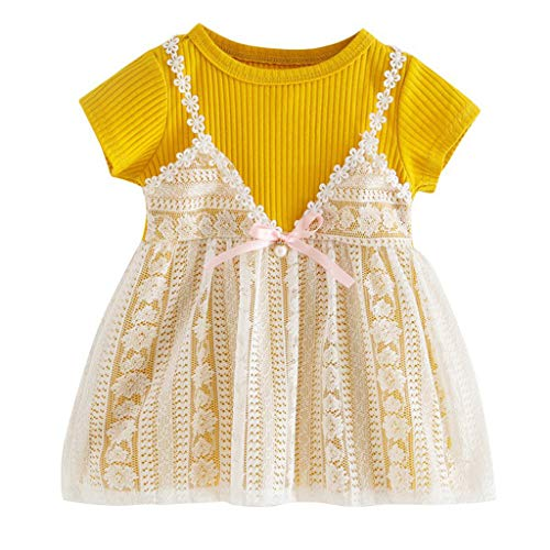 (GorNorriss Baby Dress Summer Infant Girls Short Sleeve Floral Print Dress)