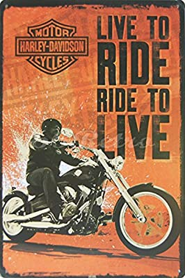 "Harley-davidson : Live to Ride, Ride to Live, Metal Tin Sign, Vintage Style Wall Ornament Decor, Size 8"" X 12"""