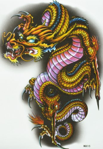 GGSELL GGSELL hot selling extra large new design big size 7.87 x 8.66 Inches waterproof colorful dragon temporary tattoo sticker for should