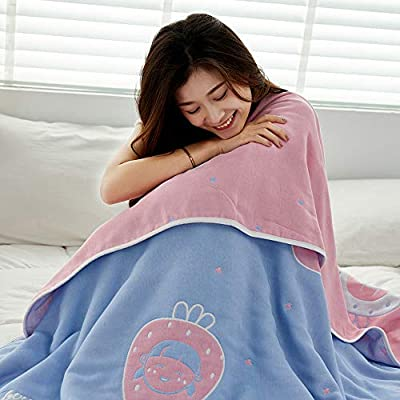 L LANSHAN FANG 6-Layer Cozy Lightweight Muslin Cotton Blanket for Bed, Couch & Sofa,100% Cotton,AB Version Cartoon Style Blanket Bed Coverlet Sheet (Strawberry Girls, (Twin59 x79)): Home & Kitchen