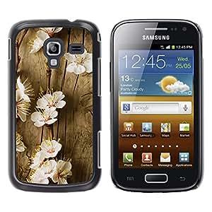 Qstar Arte & diseño plástico duro Fundas Cover Cubre Hard Case Cover para Samsung Galaxy Ace 2 I8160 / Ace2 II XS7560M ( Flowers Spring Tree Blossoming White Nature)