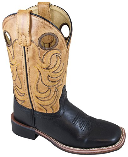 Smoky Mountain Childrens Jesse Leather Square Toe Western Cowboy Boot, Black/Bomber Tan, US 10 - Western Leather Footwear