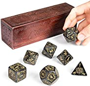 Titan Dice: Nyx | 25mm Giant Polyhedral Dice 7-Piece Set & Engraved Wooden Display Box | Smoke Color with
