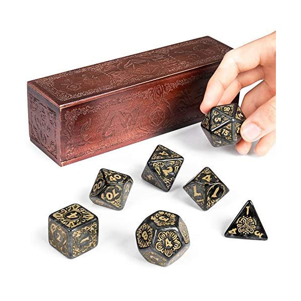 Titan Dice Nyx 25mm Giant Polyhedral Dice 7 Piece Set Engraved Wooden Display Box Smoke Color With Gold Numbers Tabletop Roleplaying Fantasy Rpg Gaming Novelty Accessories