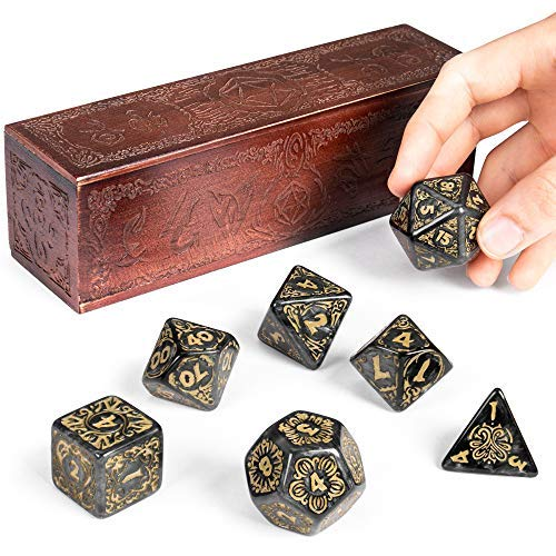Titan Dice: Nyx | 25mm Giant Polyhedral Dice 7-Piece Set & Engraved Wooden Display Box | Smoke Color with Gold Numbers | Tabletop Roleplaying Fantasy RPG Gaming Novelty - Figure Resin Painted Metallic