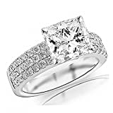 14K White Gold 1.68 CTW Princess Cut Modern Triple Three Row Pave Set Round Cut Diamond Engagement Ring, K Color I2 Clarity, 1 Ct Center
