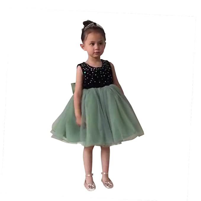Amazon.com: leyidress niños de terciopelo verde boda vestido ...