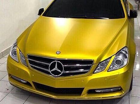 Gelb Folie Car Wrapping 3D Chrom Matt GOLDEN YELLOW  Metallic mit Luftkanälen