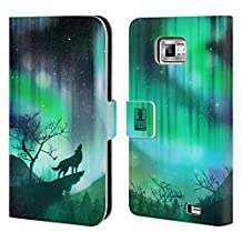 Head Case Designs Green Howling Wolf Northern Lights Leather Book Wallet Case Cover For Samsung Galaxy S5 Active