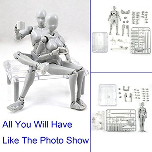 Uranny Body Kun DX Set Male & Female Action Figure Model Set for SHF Body Kun Doll PVC Body-Chan DX Set 2.0 (1 Set-Action Figure Model) (Body Chan Body Kun Manga Drawing Figure)