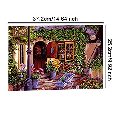 300 Pcs Jigsaw Puzzle, Ecstasi Purple Warm Tone Art Work with Flower Countryside House, Sunflower Rose Daisy Lamp Great Gift Room Wall Decoration for Home Lover Family Handcraft: Toys & Games