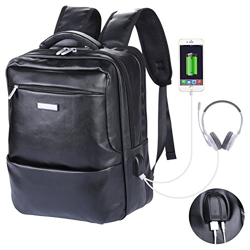 VIDENG POLO Leather School Backpack with USB Charger Port Multifunctional Casual 15.6 inch Laptop Bag Rucksack for College Students Business Men (Leather Photo Pack)