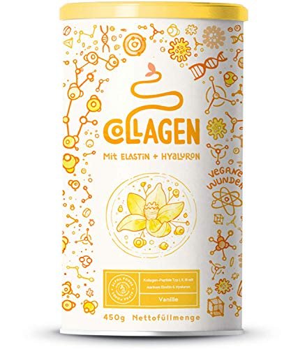 Collagen mit Elastin und Hyaluronsäure | Kollagen Hydrolysat Peptide Type I, II und III | Ohne Zusatzstoffe | Vanille | 450 Gramm