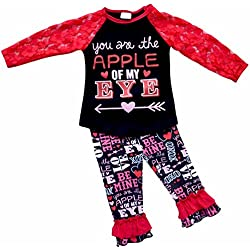 Unique Baby Girls 2 Piece Lace Sleeved Valentineu0027s Day Outfit (4T/M, ...
