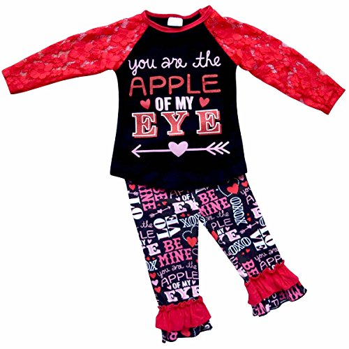 Unique Baby Girls 2 Piece Lace Sleeved Valentine's Day Outfit (8/XXXL, Red) (Show Girl Outfits)