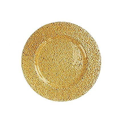 ChargeIt by Jay Glamour Glass Charger Plate Gold 1470342