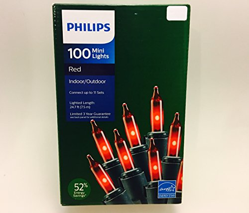 Philips 100 Red Mini String Lights Energy Star 24.7 ft on Green Wire Christmas Valentines Patio (Energy Best Christmas Lights)