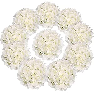 Flojery Silk Hydrangea Heads Artificial Flowers Heads with Stems for Home Wedding Decor,Pack of 10 (Off-White) 20
