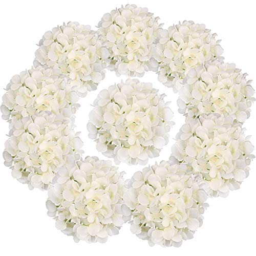 Flojery Silk Hydrangea Heads Artificial Flowers Heads with Stems for Home Wedding Decor,Pack of 10 (Off-White)